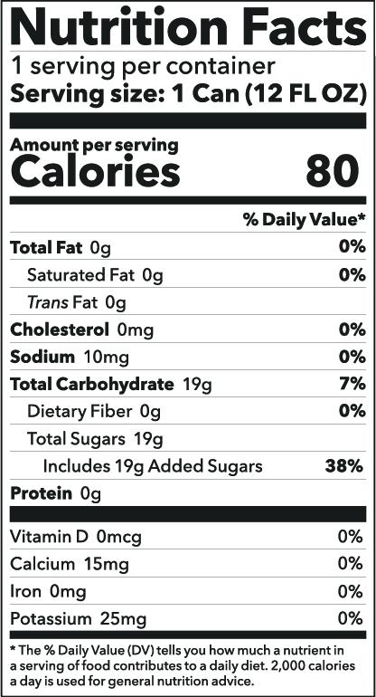 Black Tea Soda Nutrition Facts