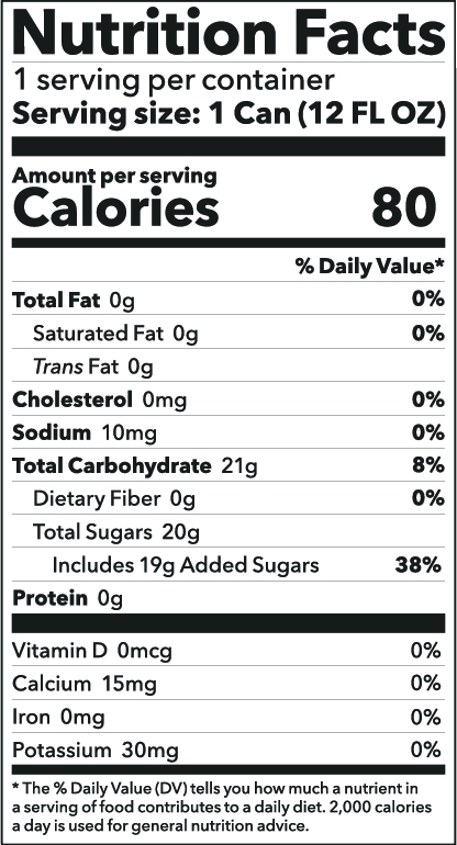 Green Tea Soda Nutrition Facts