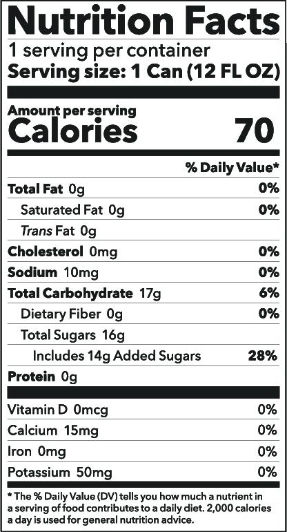 Lemongrass Tea Soda Nutrition Facts