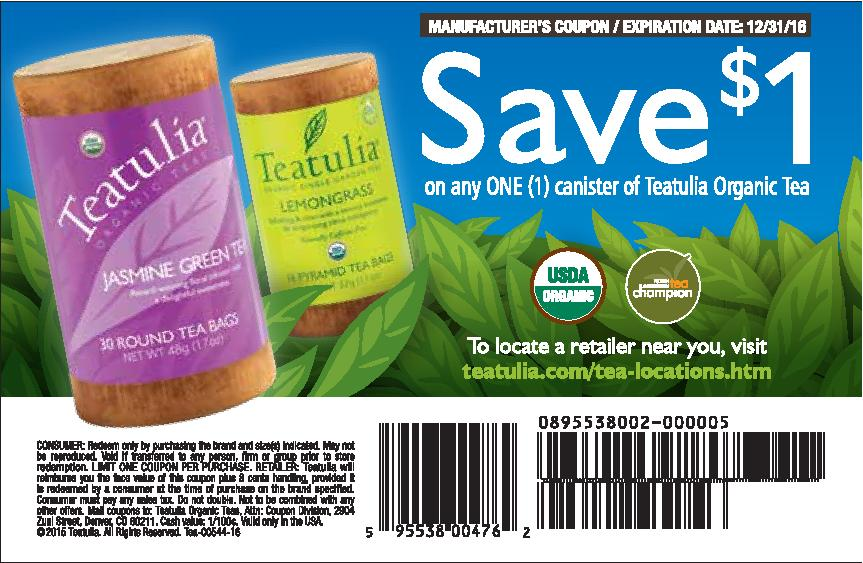 $1 off Teatulia Coupon