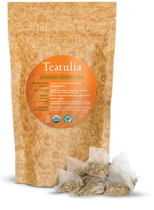 Organic Teatulia Ginger Green Pyramid Bulk Tea Bags