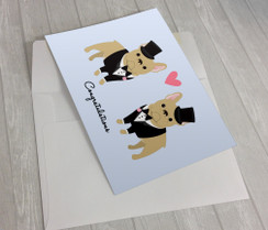 Wedding French Bulldogs 2 Grooms Greeting Card