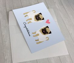 Wedding Pugs 2 Brides Greeting Card