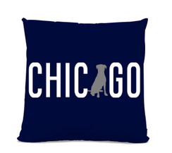 Chicago Labrador Navy Pillow