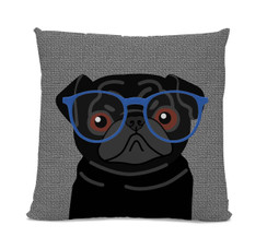 Black Pug with Glasses Pillow