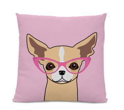 Chihuahua with Glasses Pillow