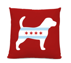 Chicago Flag Beagle Red Pillow