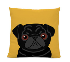 Black Pug on Yellow Pillow