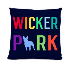 Wicker Park French Bulldog Navy Pillow