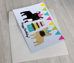 Black and Fawn French Bulldog Birthday Card