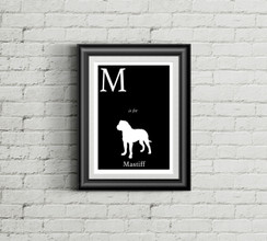 M is for Mastiff Alphabet Art Print