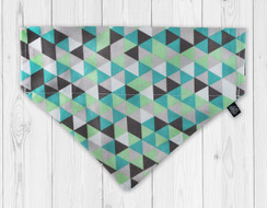 Taupe and Green Diamond Slip-On Dog Bandana
