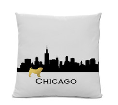 Chicago Skyline Gold Pug Pillow