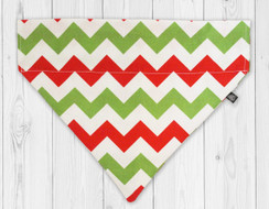 Red and Green Candy Cane Slip-On Dog Bandana