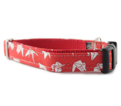 Paper Cranes in Red Dog Collar