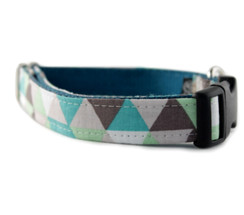 Taupe and Green Diamond Dog Collar