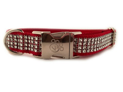 Crimson Bling Dog Collar
