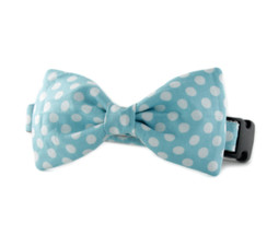 Ice Blue Dot Bow Tie Dog Collar