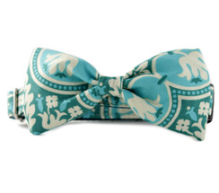 Green Trellis Bow Tie Dog Collar