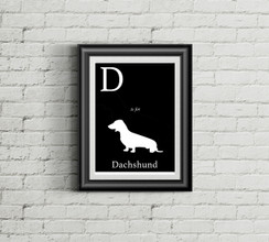 D is for Dachschund Alphabet Art Print