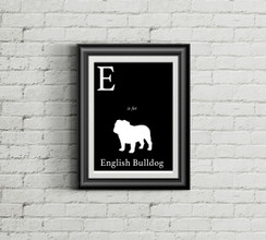 E is for English Bulldog Alphabet Art Print
