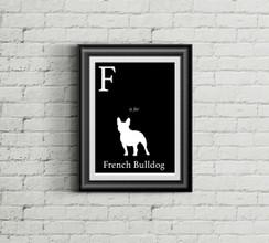 F is for French Bulldog Alphabet Art Print