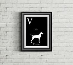 V is for Vizsla Alphabet Art Print