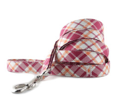 Raspberry and Orange Plaid Dog Leash
