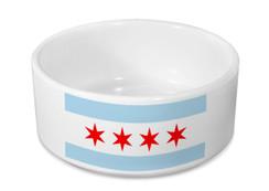 Chicago Flag Ceramic Dog Bowl - Pet Bowl