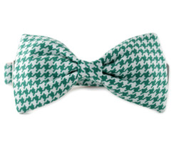 Green Houndstooth Bow Tie Dog Collar