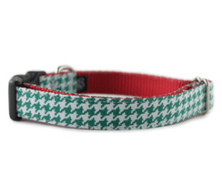 Green Houndstooth Dog Collar