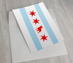 Chicago Flag French Bulldog Greeting Card