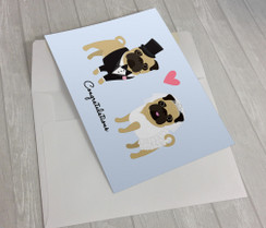 Wedding Pugs Greeting Card