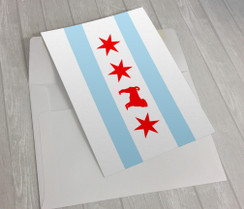 Chicago Flag Pug Greeting Card