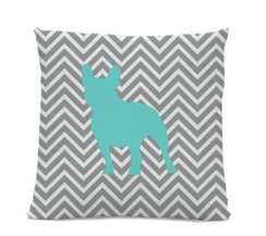 Chevron Teal French Bulldog Pillow