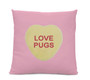 Love Pugs Candy Heart Pillow