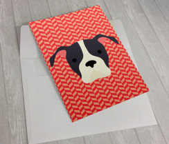 Herringbone Pitbull Greeting Card