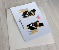 Wedding Pugs 2 Grooms Greeting Card