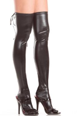 Black wet look pantyhose