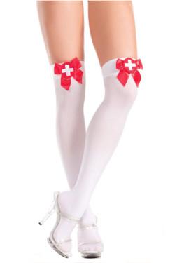 Sexy nurse  sheer white thigh high pantyhose