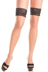 Nude women's pantyhose with black lace trim