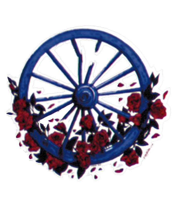 WHEEL AND ROSES 5 INCH STICKER
