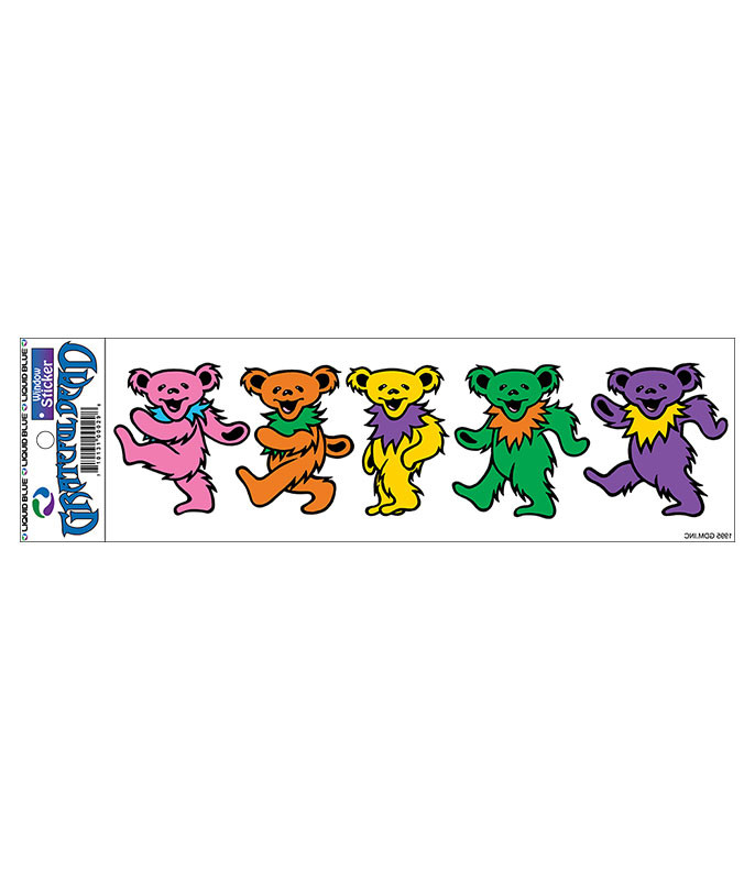 Grateful Dead Dancing Bears 3 in. Window Sticker Liquid Blue