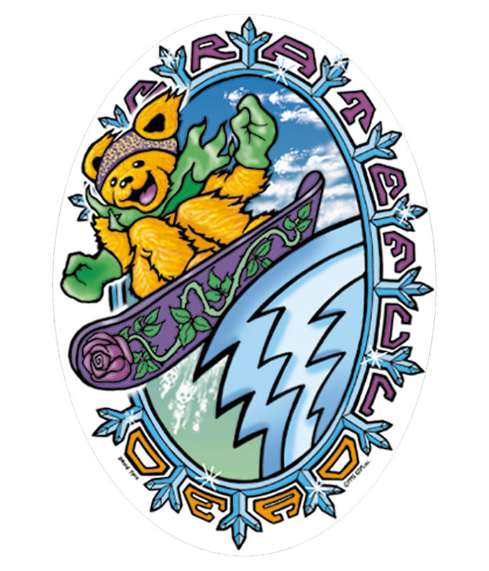 Grateful Dead Snowboard Bears Sticker Liquid Blue
