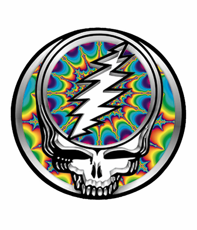 Grateful Dead Steal Your Face Fractal Ii Sticker Liquid Blue