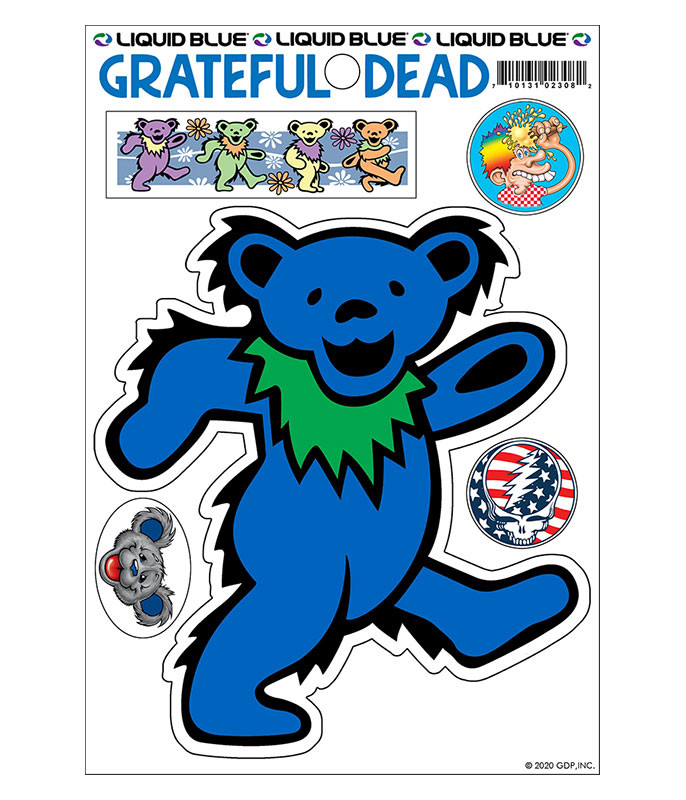 Grateful Dead Blue Bear Diecut Sticker Liquid Blue