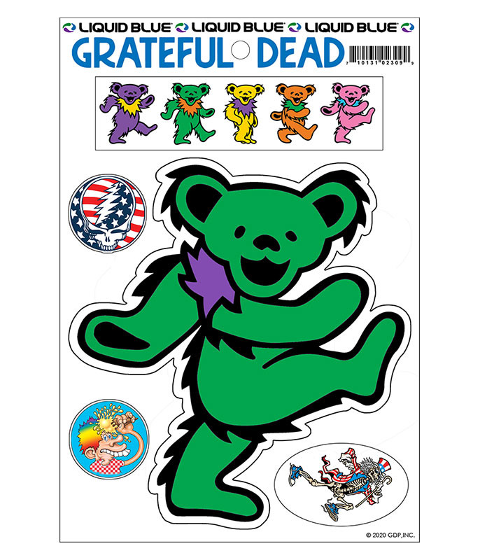 Grateful Dead Green Bear Diecut Sticker Liquid Blue
