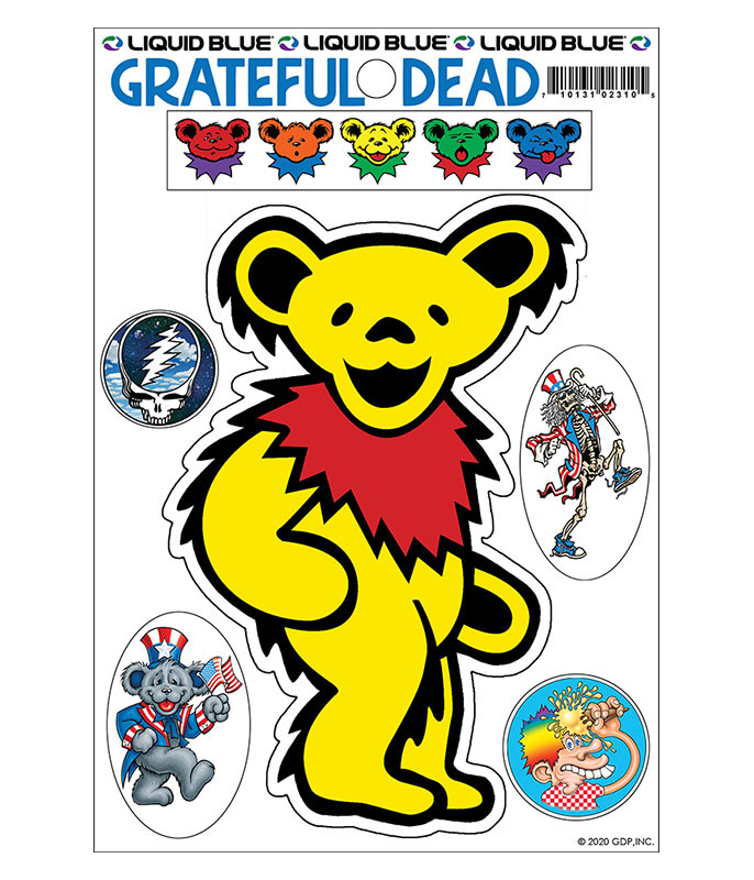 Grateful Dead Yellow Bear Diecut Sticker Liquid Blue
