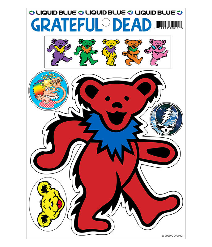 Grateful Dead Red Bear Diecut Sticker Liquid Blue