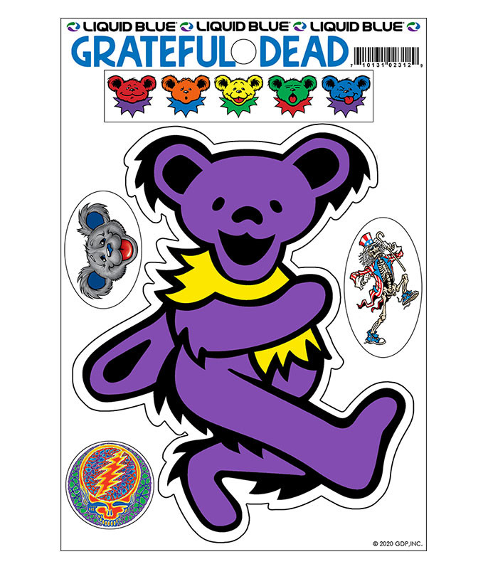Grateful Dead Purple Bear Diecut Sticker Liquid Blue